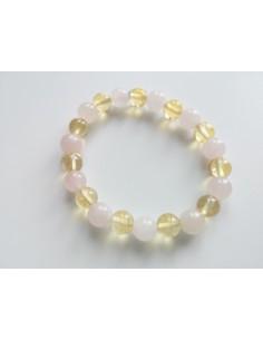 Bracelet mélangé citrine et quartz rose